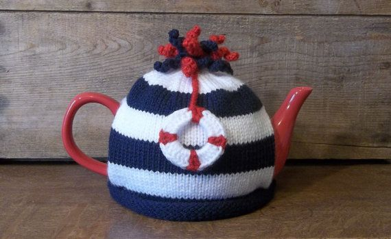Tea Cozy, Nautical Knit Tea Cosy, Knit Sailor Teapot Cozy with Life-ring, Kitchen Decor, Retro Tea Cosy, Navy and White Tea Cosy,