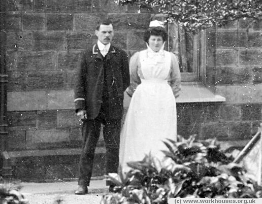 Burnley workhouse porter and nurse, c.1906.