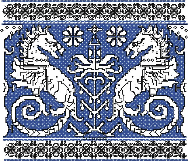 Assisi embroidery design seahorses