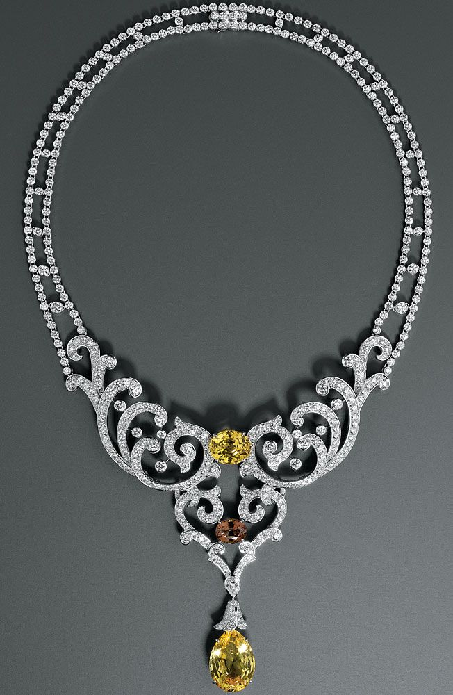 Cartier diamond-and-sapphire necklace.