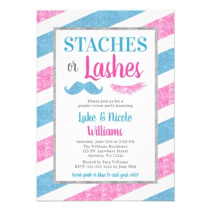 Staches or Lashes Gender Reveal Party Baby Shower Card - invitations personalize custom special event invitation idea style party card cards
