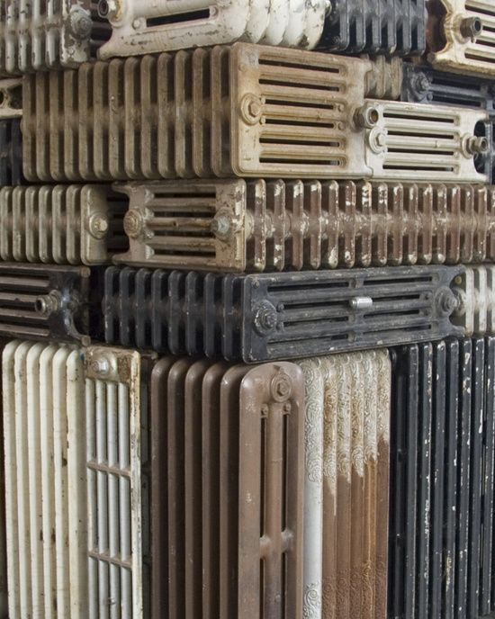 """Bharti Kher, """"The hot winds that blow from the West"""" (detail), 2011, 131 old radiators"""
