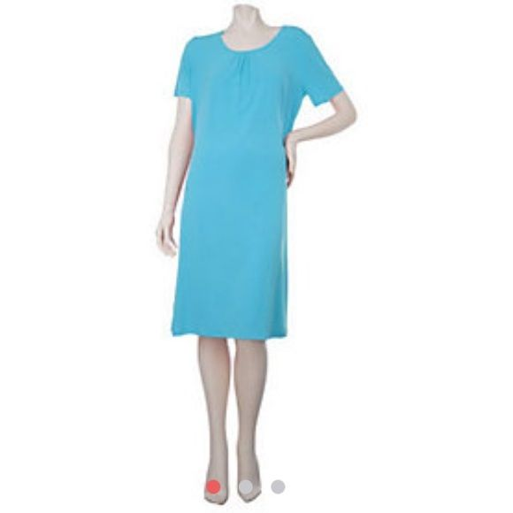 Susan Graver Liquid Knit A-line Dress w/ Ruching Like new condition! Measurements available upon request. Color is Turquoise. Susan Graver Dresses