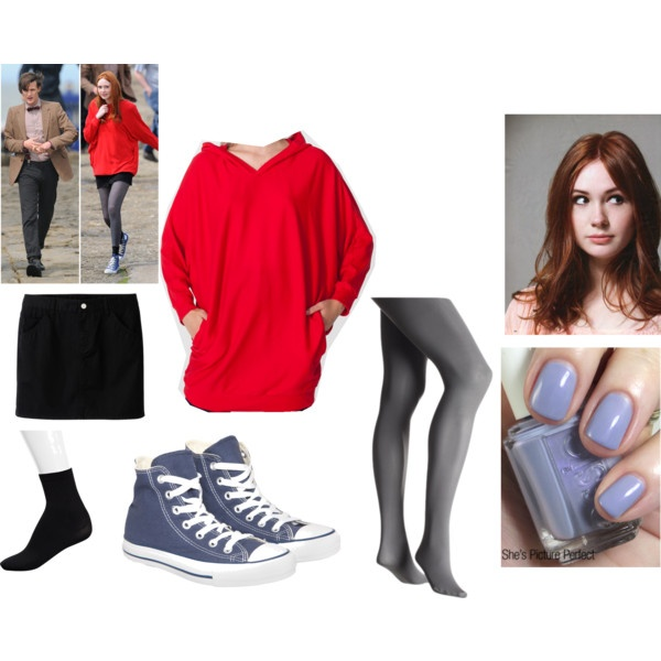 Amy Pond outfit. Never been a mini skirt person, but I LOVE her big, floppy red sweatshirt and the shoes.