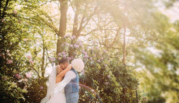 Bride and groom in the outdoor space at West Tower - © Lawson Photography