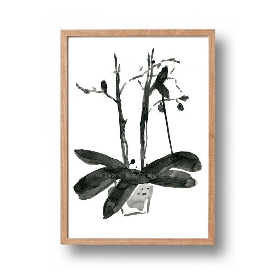 Orchid plant ink drawing original ink painting  by TheJoyofColor