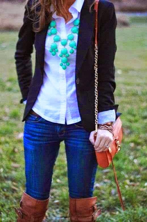 Fall Work Outfit With Black Blazer And Long Boots