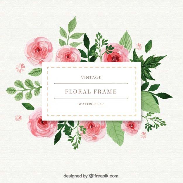 pintados à mão rosas com frame das folhas Vetor grátis