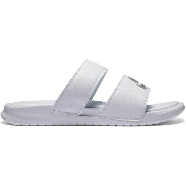 Nike Benassi Duo Ultra Slider Sandals ($42) ❤ liked on Polyvore featuring shoes, sandals, fleece-lined shoes, white sandals, white strappy shoes, white shoes and nike footwear