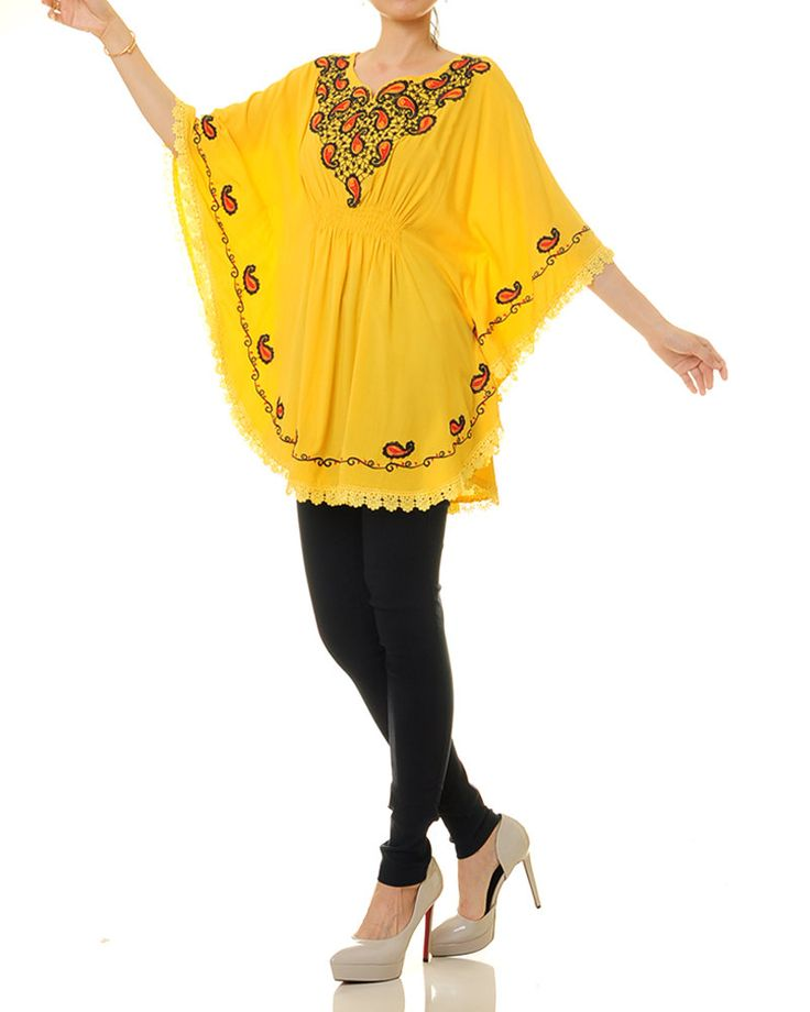 Yellow Mexican Tunic   Embroidered Kaftan Top   Yellow Mexican Top   Embroidered Tunic Top   Batwing Top   Boho Top (8122) by Tailored2Modesty on Etsy