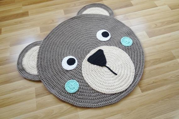 Rug For Kids Room Nursery Decor Woodland Round Rug Animal Rug Crochet Rug Nursery Rug Boy Toddler Room Decor Kids Bedroom Rug Carpet Crochet Rug Crochet Nursery Animal Rug