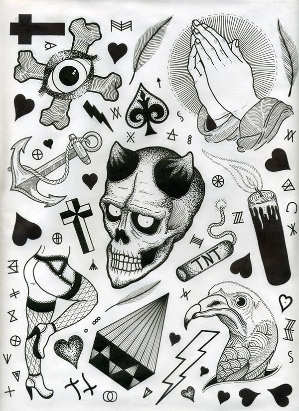 my version of the tradition of the tattoo flash sheet