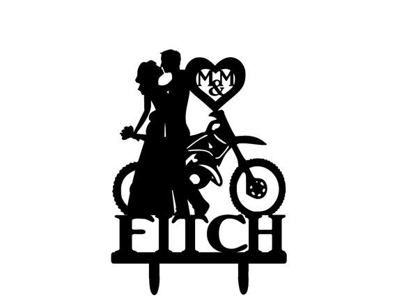 Last Name Dirt Bike Couple Wedding Cake Topper by 1TheCherryOnTop