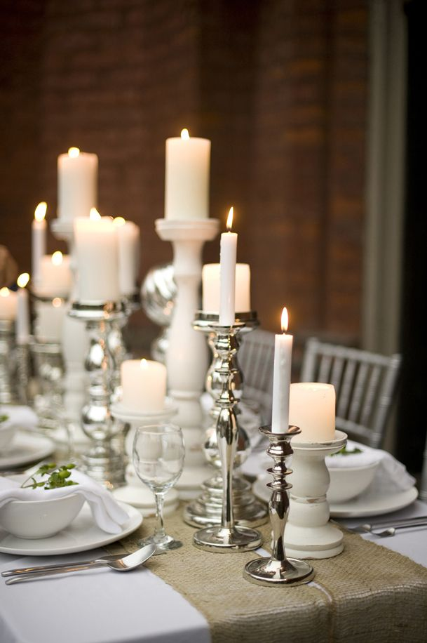Silver Candle Holders Wedding Table Settings