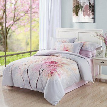 Andreannie Queen Size 3d Bedding Sets Watercolor Ink Beautiful Pink Cherry Tree Cherry Blossoms Falling Tokyo Soft Sanding Brushed Cotton Material 4pc Duvet Cover Sets Without Comforter  Cherry blossom décor is a great way to life, beauty and peace to your home.  You can find all kinds of cherry blossom decorating ideas by looking at cherry blossom wall art, cherry blossom accent pillows and other cherry blossom decorative accents.  Effortlessly use this type of décor in your bedroom, living…