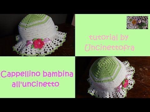 cappellino bambina all'uncinetto tutorial - YouTube
