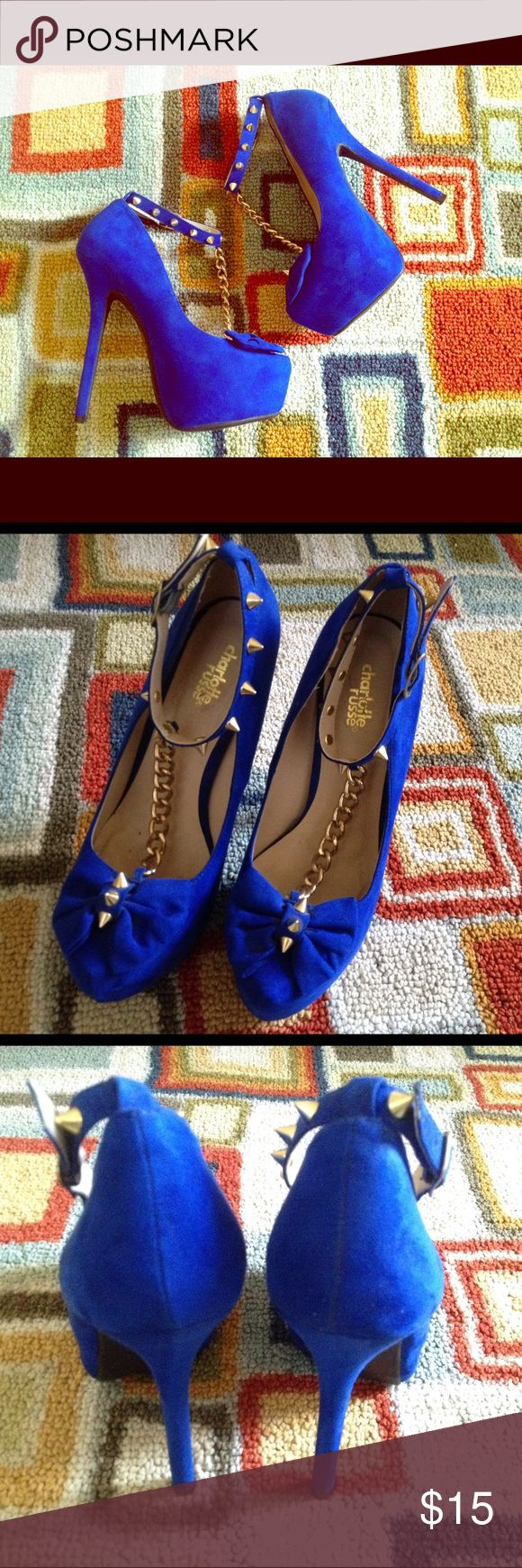 Electric blue and gold stilettos - Charlotte Russe Vibrant blue Charlotte Russe stilettos with gold studding at ankle and toe. Sexy gold chain down front. Size 8. New without tags. Feel free to ask questions! 💛 Charlotte Russe Shoes Heels
