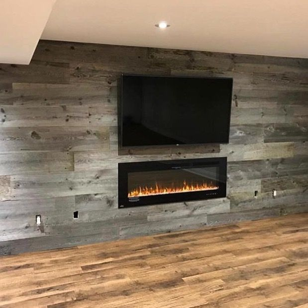 Grey barn board feature wall