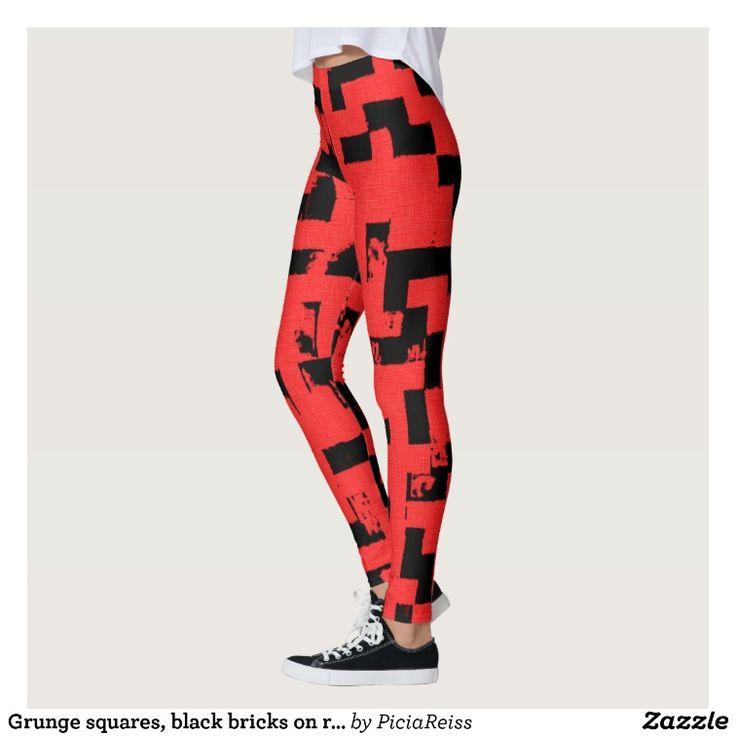 Grunge squares, black bricks on red fabric pattern leggings