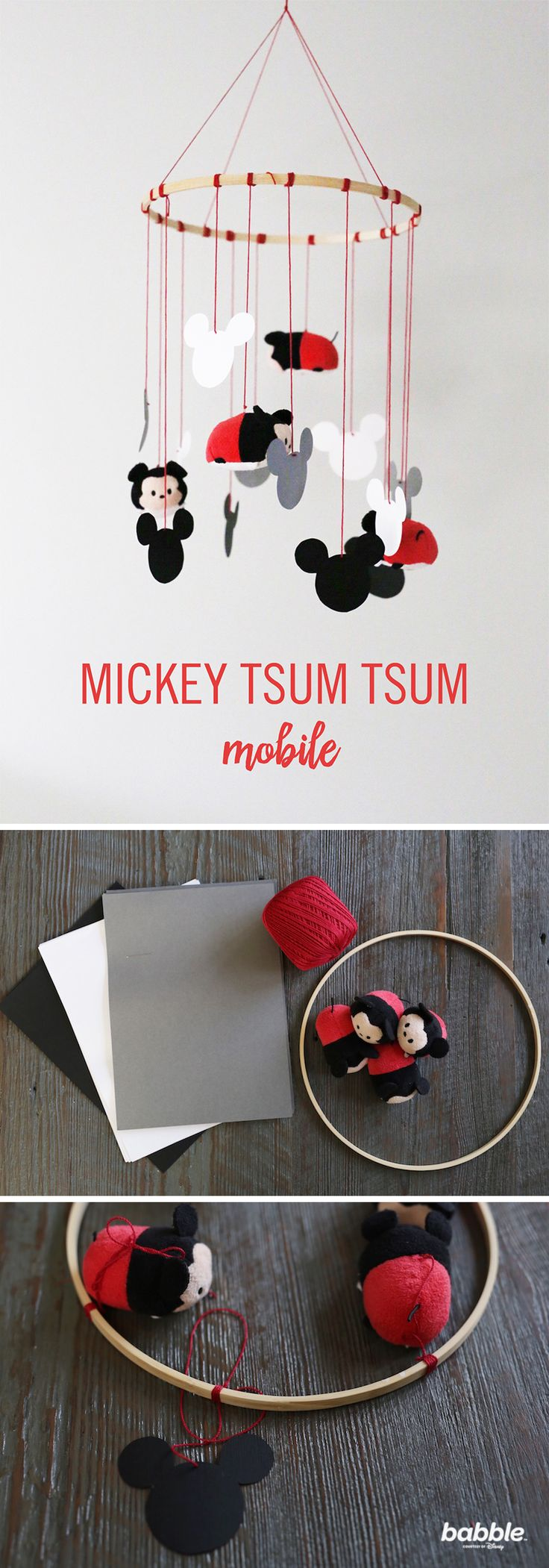 This DIY Mickey Mouse Tsum Tsum Mobile is the perfect addition to any nursery — it's modern, adds a great pop of color, and, best of all, it's super easy! Grab yarn, scissors, needles, paper, pencil, card stock, and an embroidery hoop to create this sentimental piece for your home. It's the perfect way to transform your tsum tsum into a decorative piece. Click for the full directions for this Disney craft.
