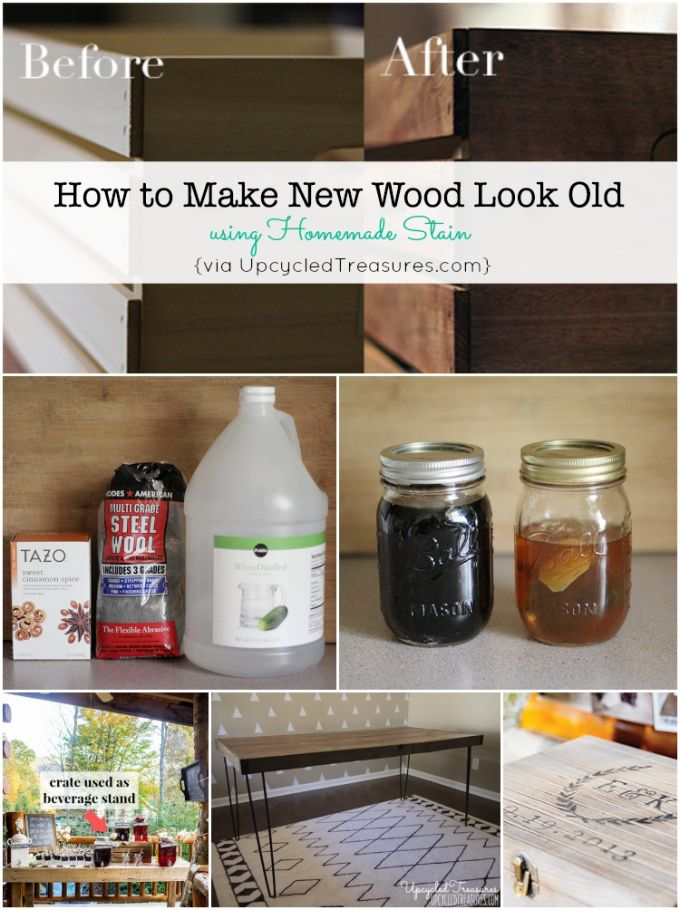 How to make new wood look old using homemade stain upcycledtreasures. Antiquing wood. Antique wood. DIY tutorial. Wood stain. Homemade wood stain. Vinegar stain. Tea stain. Rustic farm look. Aged wood.