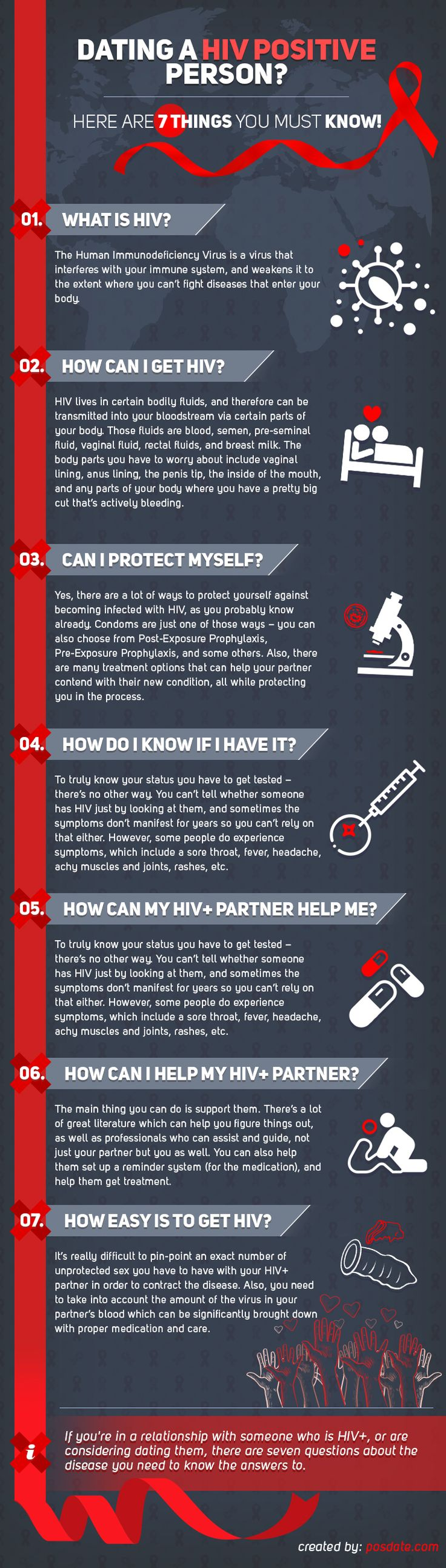 Dating a HIV positive person? Here are 7 things you must know! [INFOFGRAPHIC]  The sphere of HIV dating is an incredibly complicated thing, composed of a whole array of thoughts, experiences, and feelings. Although HIV dating sites helped a lot with the taboo surrounding the disease, some people are still uneducated when it comes to the essentials. If you're dating, or considering dating, someone who is HIV positive, there are seven incredibly important questions you should know the answers…
