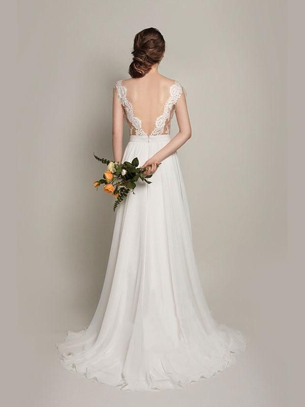 Винтаж халат де свадебная Vestido де Noiva пляж 2015 Boda невесты кружева Casamento платье-линии свадебные платья романтический мода