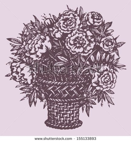 Vector Still Life. A Lush Bouquet Of Fragrant Peonies In A Wicker Basket - 155133893 : Shutterstock