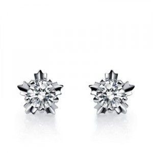 Fantastic Love Earrings on 10K White Gold