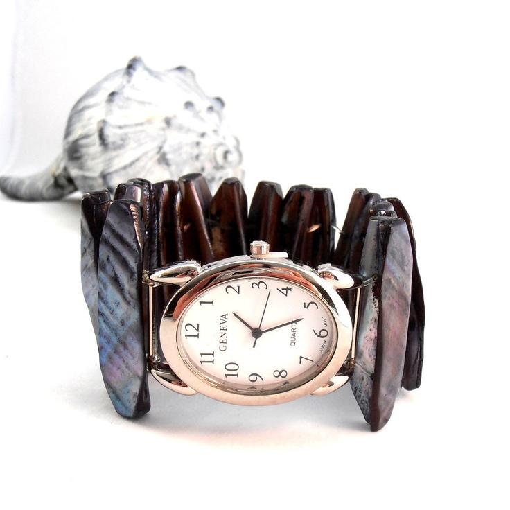 Chunky Beaded Watch, Black Sea Shell Jewelry Beach, Large Face, Stretch Bracelet Watch. $27.75, via Etsy.