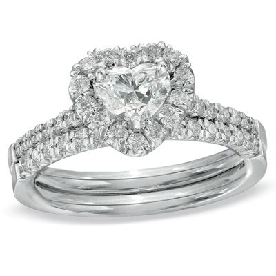 Heart Shaped Diamond Frame Bridal Set In White Gold View All Jewelry Gordon S Jewelers