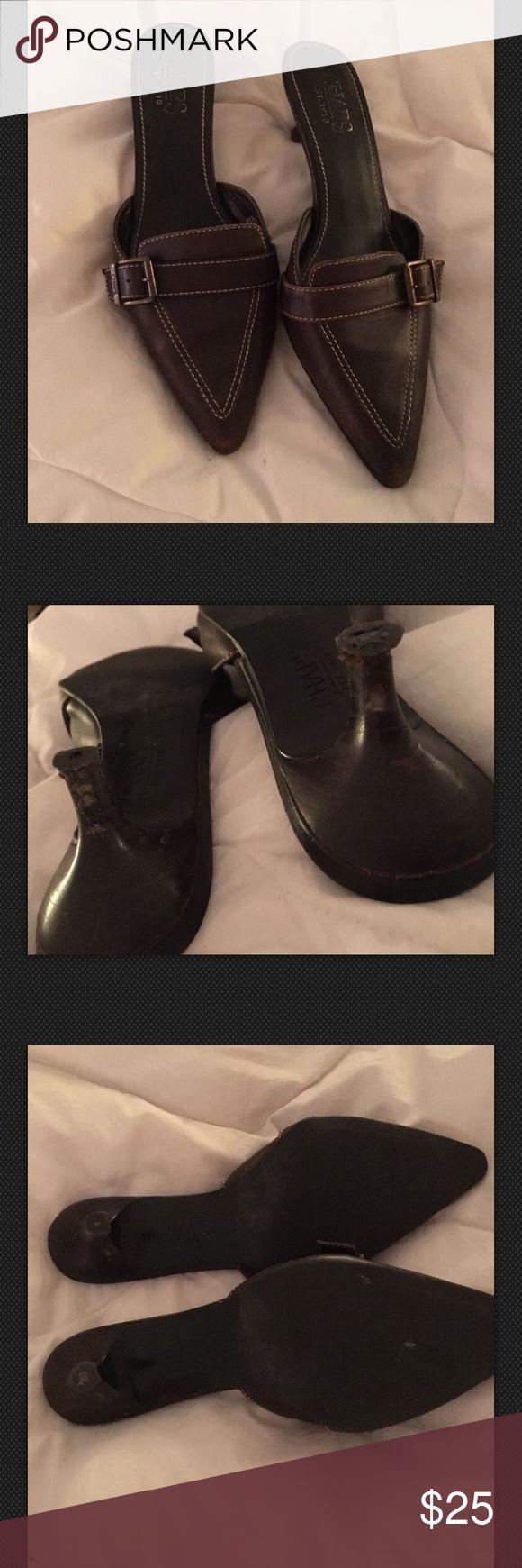 Ralph Lauren Chaps Mules Clogs Pumps Brown Leather Size 6.5 Chaps Shoes Mules & Clogs