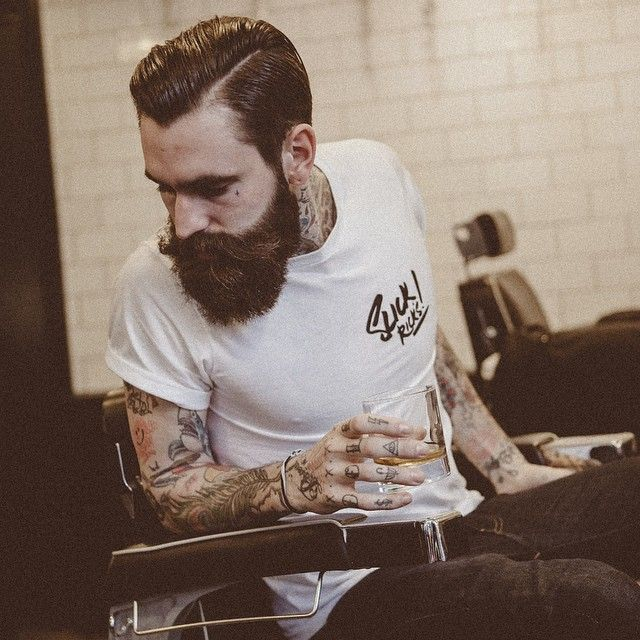 Ricki Hall - full thick dark beard mustache beards bearded man men mens' style hair cut hairstyle barber tattoos tattooed #beardsforever