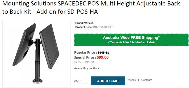 Get Mounting Solutions SPACEDEC POS Multi Height Adjustable Back to Back Kit - Add on for SD-POS-HA at $99 instead of $145.81. OnlyPOS rovide FREE Shipping in Australia..!  https://www.onlypos.com.au/spacedec-b2b-kit-for-sd-pos-ha