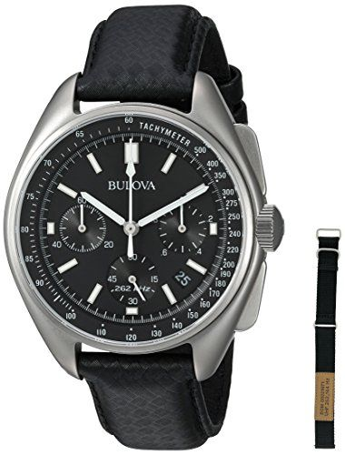 Bulova Men's Chronograph Stainless Steel and Leather Special Edition Moon Watch