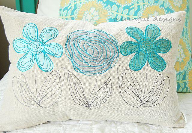scribbled flowers pillow by meringuedesigns, via Flickr