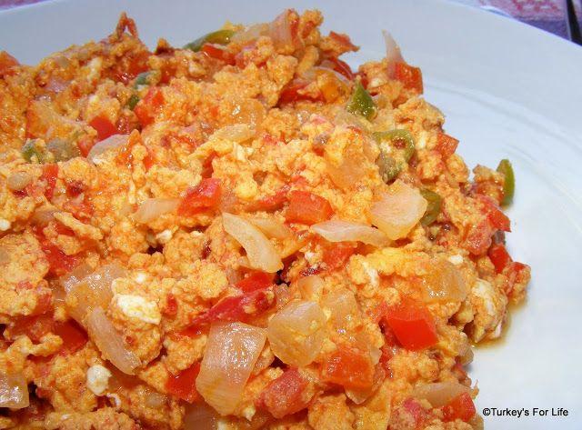 Turkish Breakfast of Soicy Adana Menemen