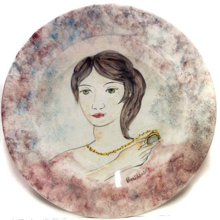 DOMENICO PURIFICATO (1915-1984) DONNA PIATTO IN CERAMICA DECORATO A MANO 52cm ☲☲☲☲☲☲☲☲☲☲☲☲☲☲☲☲☲☲☲☲ PORTRAIT OF WOMAN ON CERAMIC PLATE