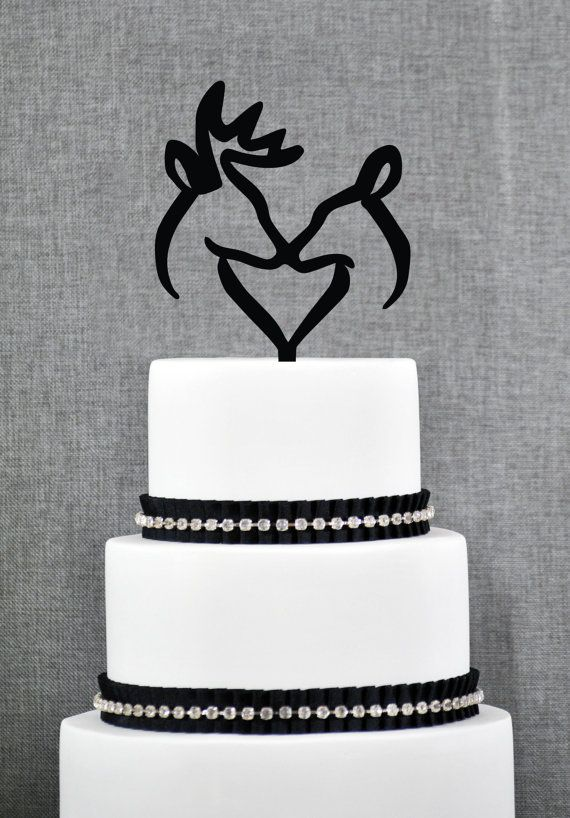 Buck and Doe Heart Wedding Cake Topper by ChicagoFactoryDesign