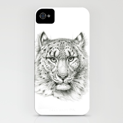 Snow Leopard SK040 iPhone Case by S-Schukina - $35.00