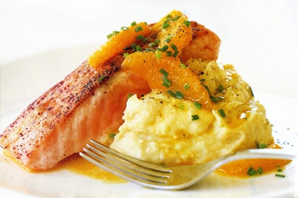 Spiced salmon with parsnip puree & orange butter sauce main image