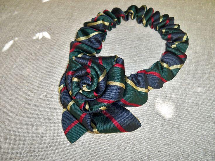 Collana cravatta righe seta