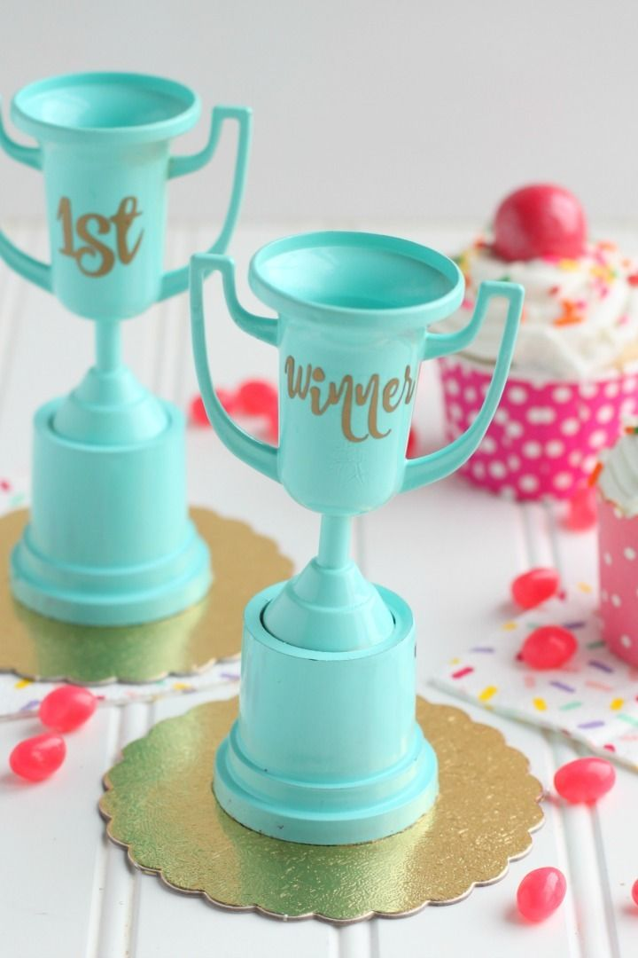 We will transform OT winner throphies to match our cupcake wars party theme. We will use spray paint to make them colorful and fun and add a custom...