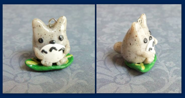 Totoro on a leaf  #totoro #polymerclay  visit my shop on etsy! www.etsy.com/shop/TheCraftyWhale