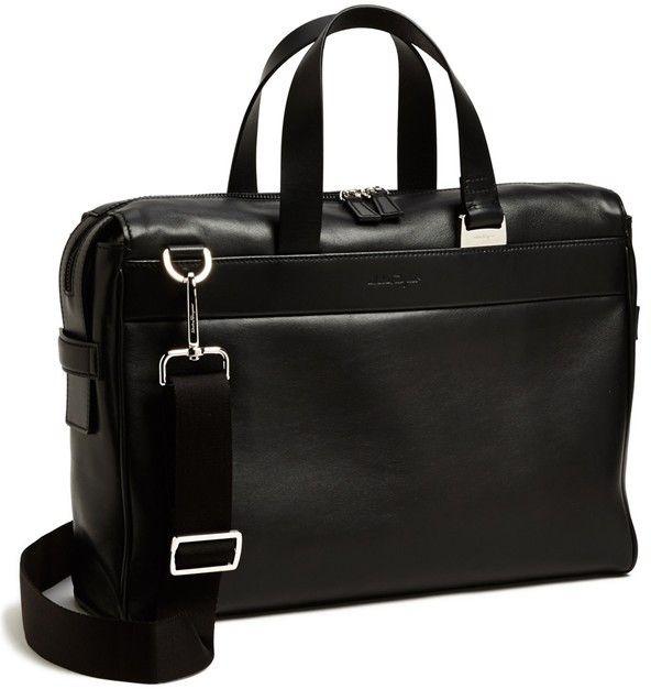 $1,300, Black Briefcase: Salvatore Ferragamo New Boston Briefcase. Sold by Nordstrom. Click for more info: https://lookastic.com/men/shop_items/13675/redirect