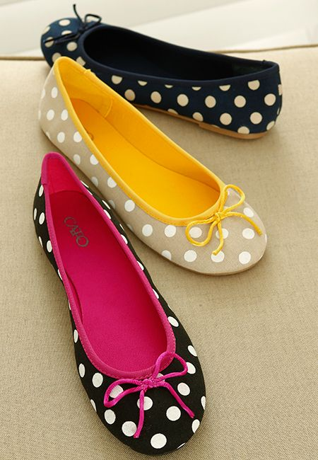 Seeing Spots? Polka dot ballet flats are a must-have this spring. I really like the yellow ones.