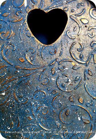 Декор предметов Декупаж Чайный домик Бирюзовый узор Дерево Краска фото 11
