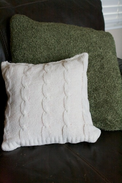 Recover pillows with old sweaters.. what a great idea!