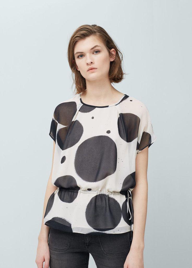 Струящаяся блузка с принтом -  Женская | OUTLET Россия (Российская Федерация)