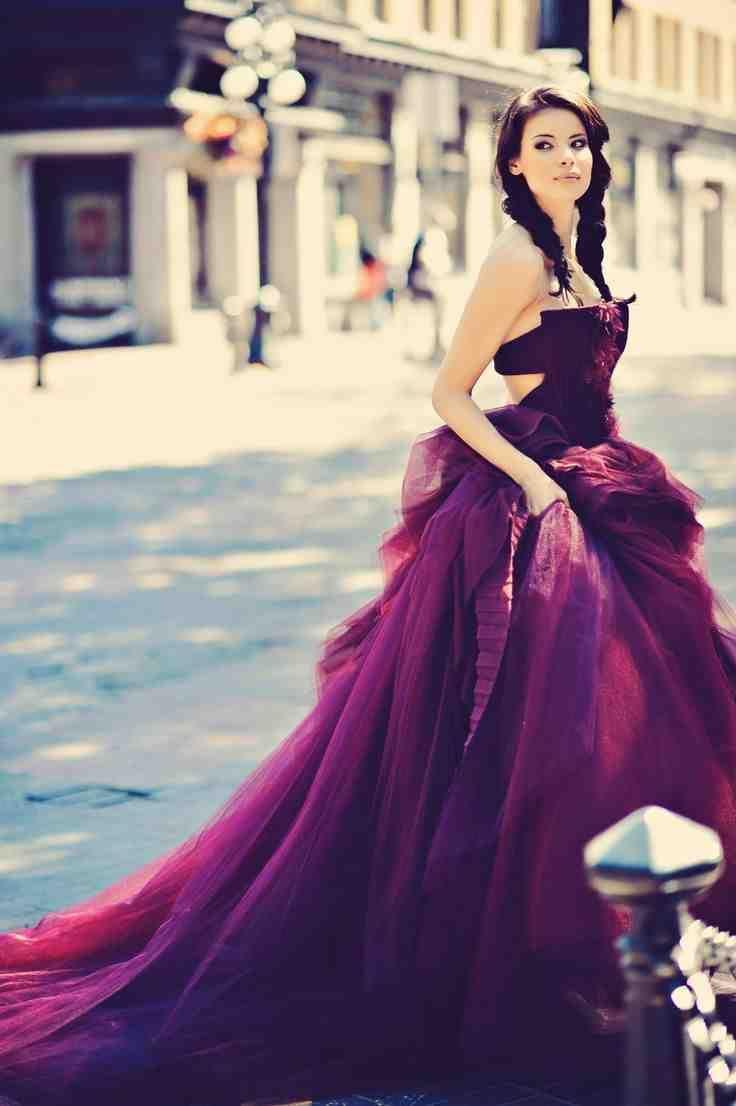 28 best purple wedding dress images on Pinterest | Wedding frocks ...